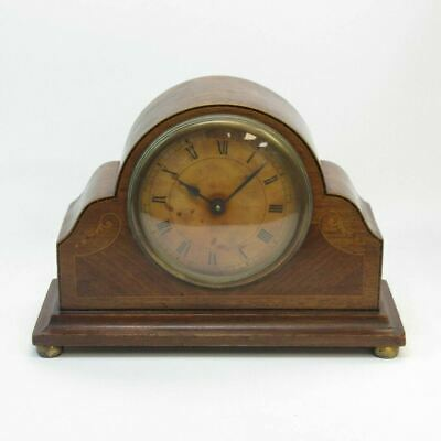 "Antique 8"" Ornate Walnut & Inlay Wooden Mantel Clock (no key, spares/repairs)"