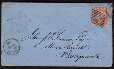 GB 1876 1d RED STAMP PLATE 180 ON COVER WITH DUBLIN (186) DUPLEX POSTMARK