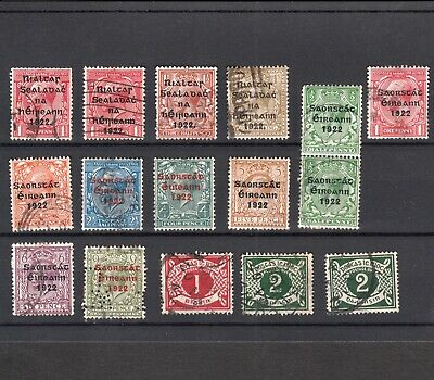 Ireland 1922 Provisional & Free State Overprints To 1/- Plus Postage Dues (16)