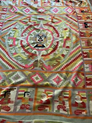 Woolen Rug Vintage Mainly Orange And Green From Indian New Size 240cm Long