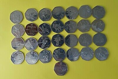 Full Set of 29 OLYMPIC 50p coins inc Football Triathlon Judo Wrestling rare