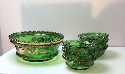Eapg   Antique  Rare  Peach & Cable   Berry Bowl Set   Emerald Green   Northwood