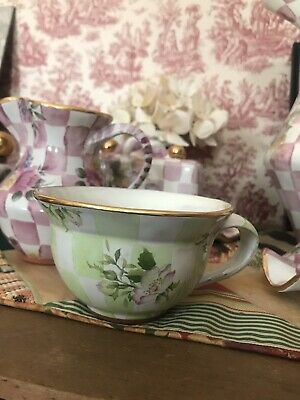 MACKENZIE-CHILDS Green gold Sweet Pea Honeymoon CHECK Tea Cup SET OF 6 RARE