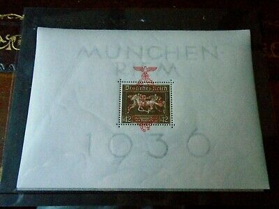 Germany 1937 'Brown Ribbon' M.Sheet opt in red 1 August 1937 Munchen-Riems