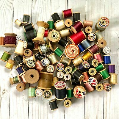Lot of 90 Vintage Silk and Cotton Thread on Wood Spools