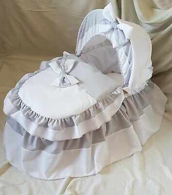Grey And White Moses Basket Cover Set By Babyfanzone