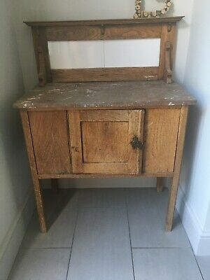Antique Wash Stand with Marble Top and Tiled Back
