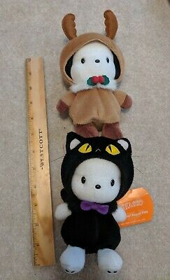 Sanrio Black Cat Halloween Pochacco Christmas Reindeer Bean Bag Plushes Toy VTG