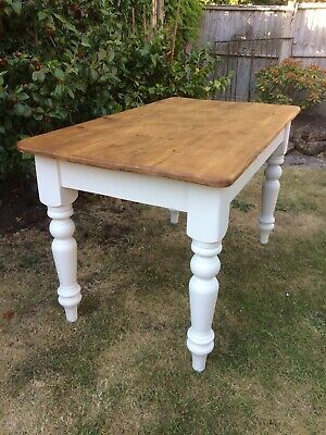 Shabby Chic Vintage Antique Farmhouse Pine Dining Table