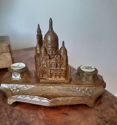 Antique French Grand Tour metal Inkwell