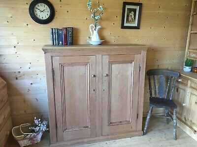Large rare old antique solid pine rustic school cabinet linen larder cupboard