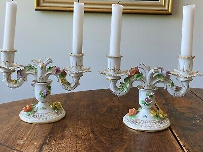 Pair of Carl Thieme (Dresden) Candlesticks, 6in w-o candles, perfect condition