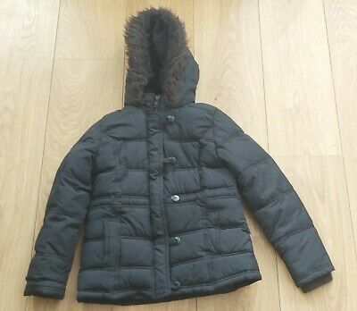 Marks And Spencers Girls Black  Padded Jacket Woth Hood   Age 7-8 Years