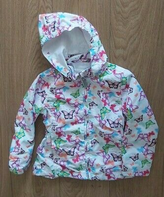 John Lewis Girls  Blue White Pink Hooded Lined Raincoat Age 5 Years