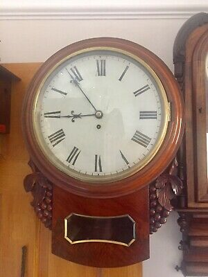 Antique Single Fusee Drop Dial Rosewood Cased Carved Wall Clock C1900