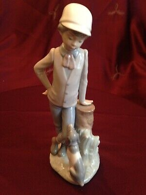 """LLADRO / NAO FIGURE #00380 """"AFFECTIONATE PUP"""" YOUNG BOY WITH HIS DOG Boxed"""