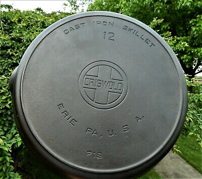 Nice Griswold #12 Large Block Logo Cast Iron Skillet 719 With Heat Ring.