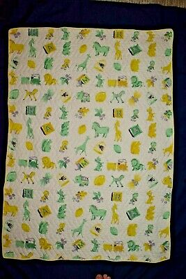 Vintage Baby Crib Quilt Light Yellow Trains Giraffes Lions Horses Dogs Squirels
