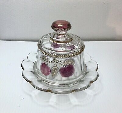 Eapg      Antique     Peach & Cable     Butterdish      Clear     Northwood