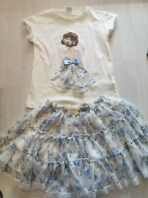 Girls Mayoral Blue floral Skirt New with tag & Top see description. Age 8.