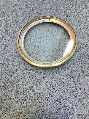 Antique Clock Bevelled Glass Dial Brass Door Bezel  (G)