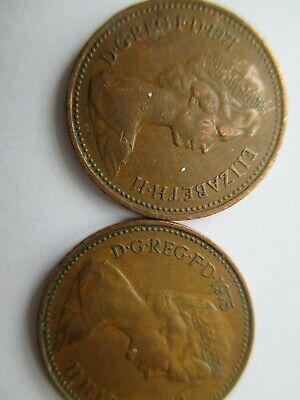 1971 and 1975 New Penny coins - good condition