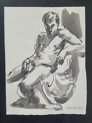 """""""Male Nude Study-6"""" Pen and Ink by RICHARD TADDEI 1999"""