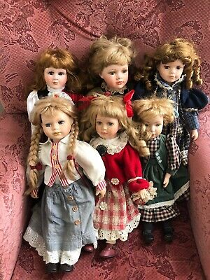 Vintage Handmade Hand Painted Porcelain Dolls Collection x 6