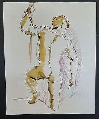 """""""Male Nude Study VI"""" (Pen and Ink) by Richard Taddei 1992"""