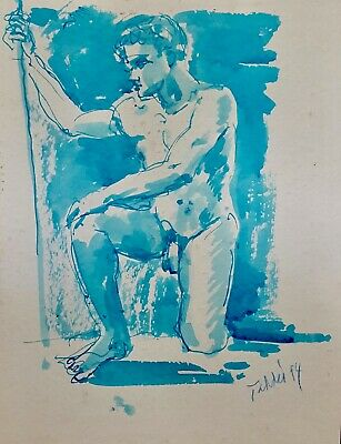 """""""Male Nude Study VII"""" (Pen and Ink) by Richard Taddei 1994"""