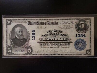 Series Of 1902 $5 The Citizens National Bank of Baltimore 1384 Nice!!