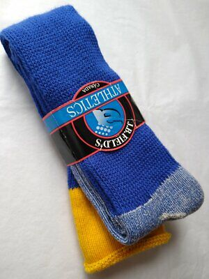 Vintage Deadstock JB Fields Athletics Canada Tube Socks Royal Blue Yellow Size 8