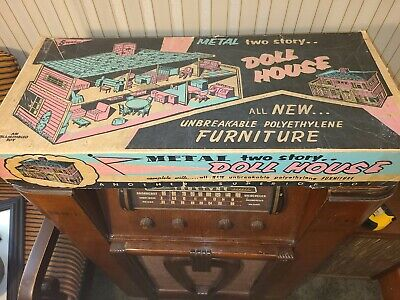 Vintage Superior Tin Metal Litho Doll House With Furniture Box Complete