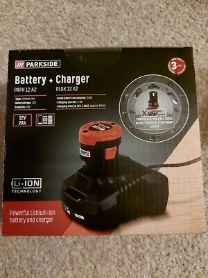 Parkside 2ah 12v  battery and charger PAPK 12 A2