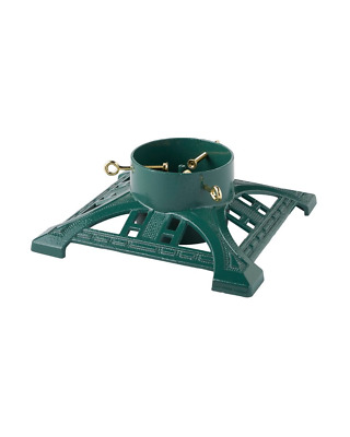 "11"" Victorian Decorative Square Cast Iron Christmas Tree Stand - green"
