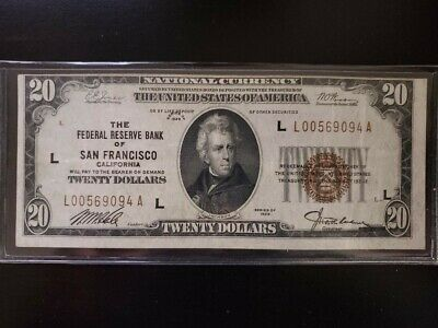 1929 $20 National Currency Note - San Francisco CA Federal Reserve Bank NICE!!