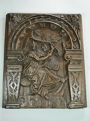 18th Century Antique Carved Wooden Panel Depicting Lady By Tree
