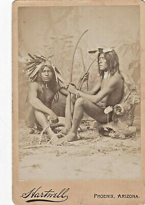 Antique Native American Cabinet Photo-  2 Apache? Warriors Bows Feathers in Hair