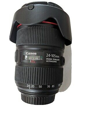 Canon Zoom Lens EF 24-105mm f/4 L IS II USM •WORKS PERFECTLY •hood•b+w uv filter