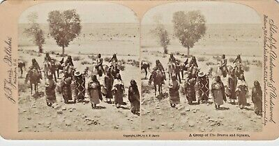"""Antique Native American Stereoview Photo-  """"Group of Ute Braves and Squaws"""""""