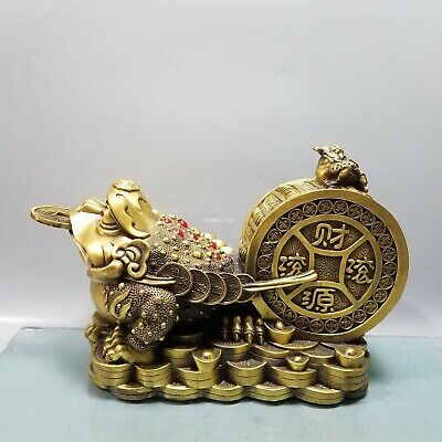 12'' brass copper casting china feng shui wealth prosperity Jin Chan toad statue