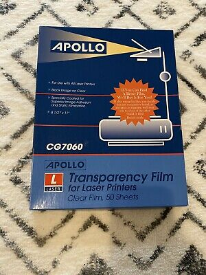 Apollo Transparency Film Laser Printers,Clear, 50 Sheets CG7060