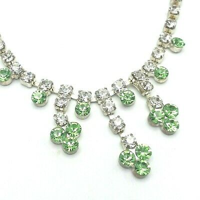 """Girl's Green & Clear Rhinestone Mickey Mouse Shaped Fashion Necklace 14"""""""