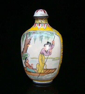 Collection 100% Handmade Painting Brass Cloisonne Snuff Bottles People 019