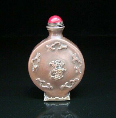 Collectible Handmade Carved  Statue Copper Brass Snuff Bottles NO-09