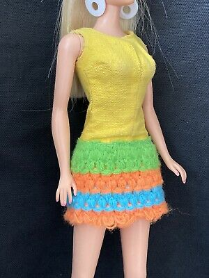 Vintage Mattel Barbie Mod Era Doll Clothes Outfit 1454 LOOP SCOOP Yellow Romper
