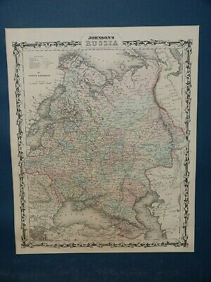 Nice Large Detailed 1867 Hand-Colored Johnson & Browning Map, Russia & Empire!