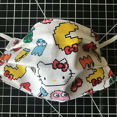 Pac Man Hello Kitty Handmade Face Mask Adult Size 3 layer fabric Sanrio pacman