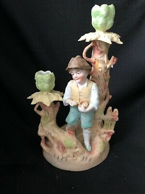 Antique German? Porcelain Figurine Candlestick BOY WITH BIRDS NEST Eggs Tree