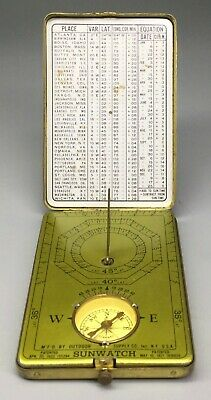 Ansonia Sunwatch Compass And Sundial Novelty Clock - Gold Plate Dark Dial